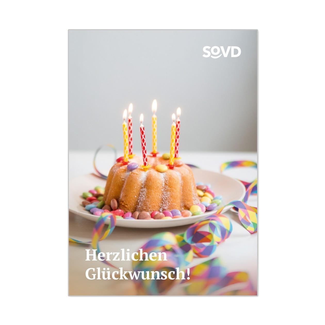"""SoVD-Shop Grußkarte """"Herzlichen Glückwunsch zum Geburtstag"""